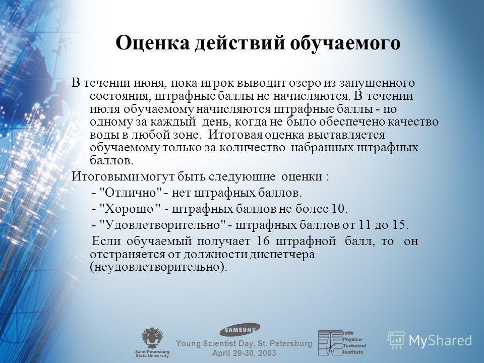 Young Scientist Day, St. Petersburg April 29-30, 2003 Стратегия обучаемого в процессе игры Обычный игровой цикл состоит из последовательности обращений к режимам в таком порядке: Состояние - Прогноз - Управление - Работа. Общая задача игрока состоит