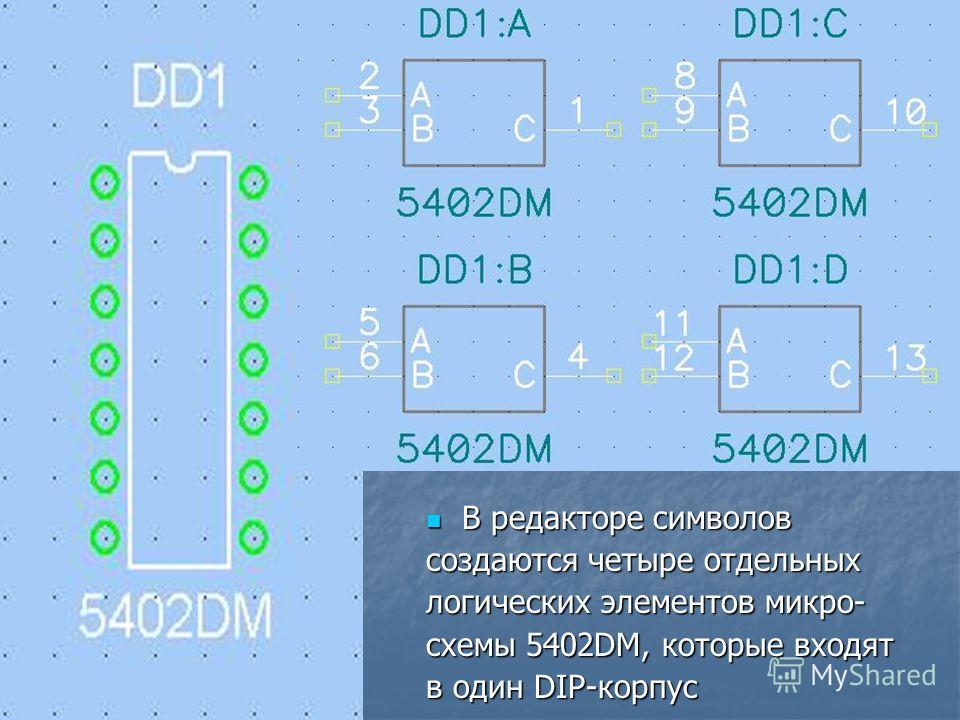 В редакторе символов В редакторе символов создаются четыре отдельных логических элементов микро- схемы 5402DM, которые входят в один DIP-корпус