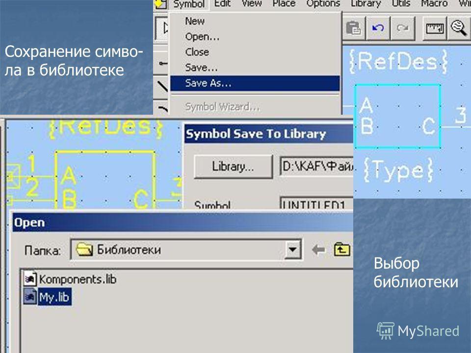 Сохранение симво- ла в библиотеке Выбор библиотеки