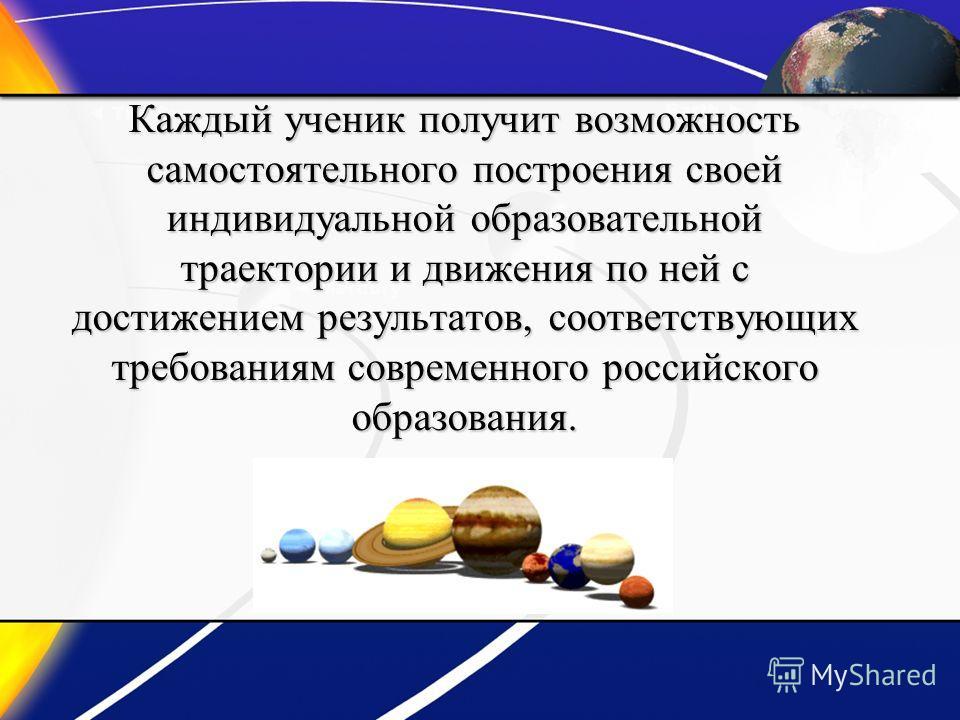 Каждый ученик получит возможность самостоятельного построения своей индивидуальной образовательной траектории и движения по ней с достижением результатов, соответствующих требованиям современного российского образования.