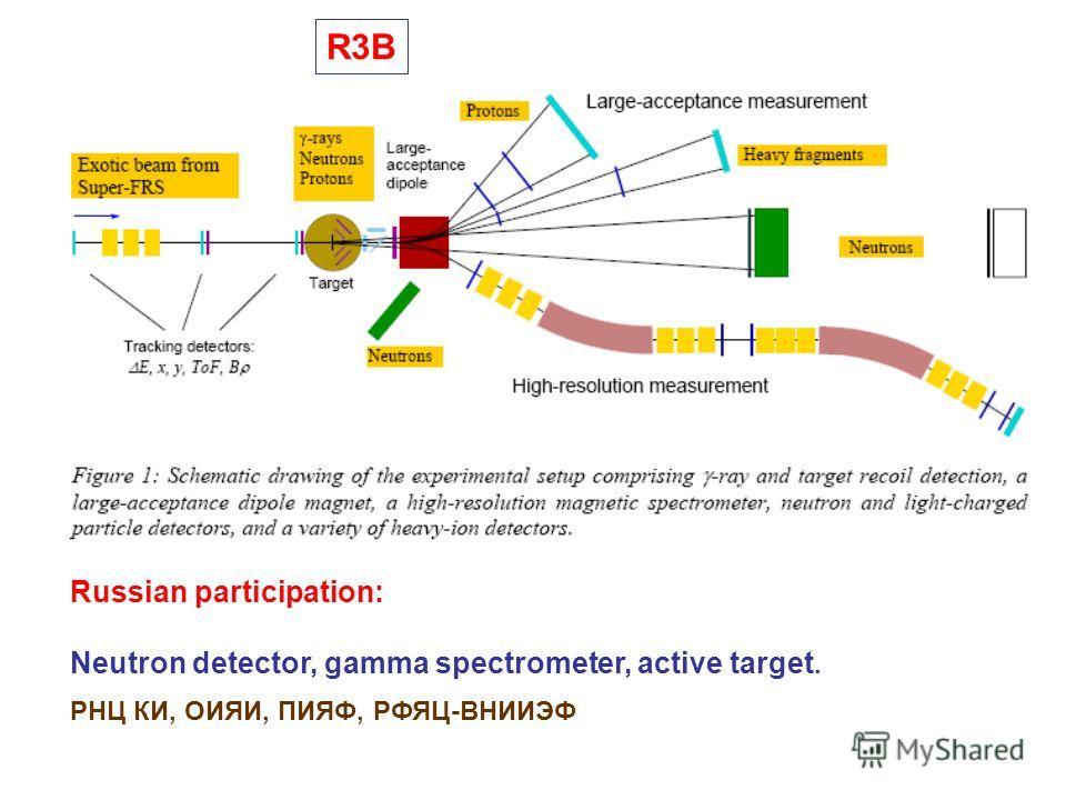 R3B Russian participation: Neutron detector, gamma spectrometer, active target. РНЦ КИ, ОИЯИ, ПИЯФ, РФЯЦ-ВНИИЭФ