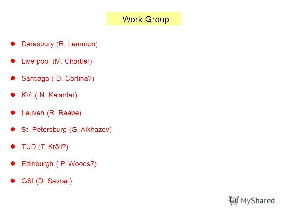 Work Group Daresbury (R. Lemmon) Liverpool (M. Chartier) Santiago ( D. Cortina?) KVI ( N. Kalantar) Leuven (R. Raabe) St. Petersburg (G. Alkhazov) TUD (T. Kröll?) Edinburgh ( P. Woods?) GSI (D. Savran)