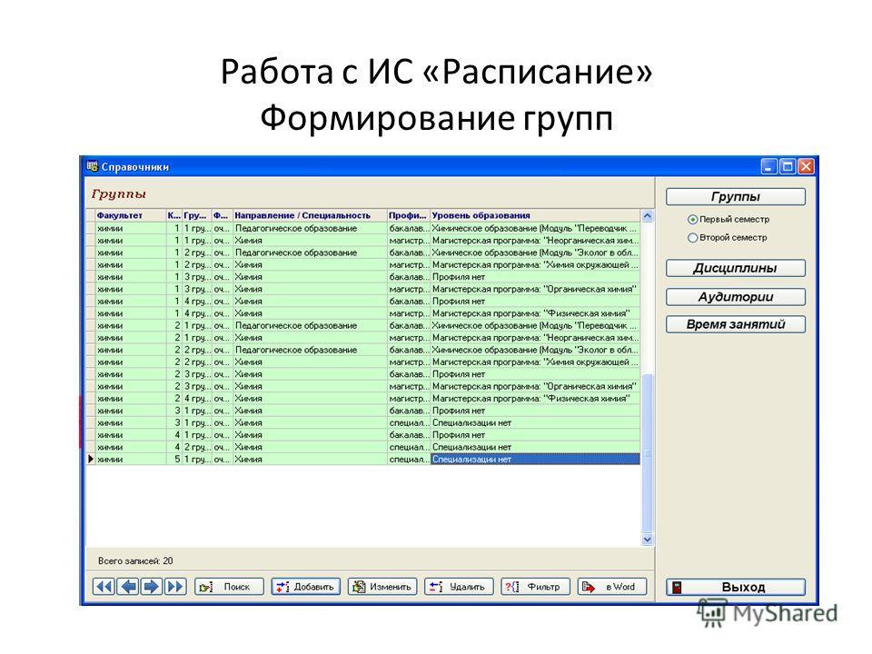 Работа с ИС «Расписание» Формирование групп