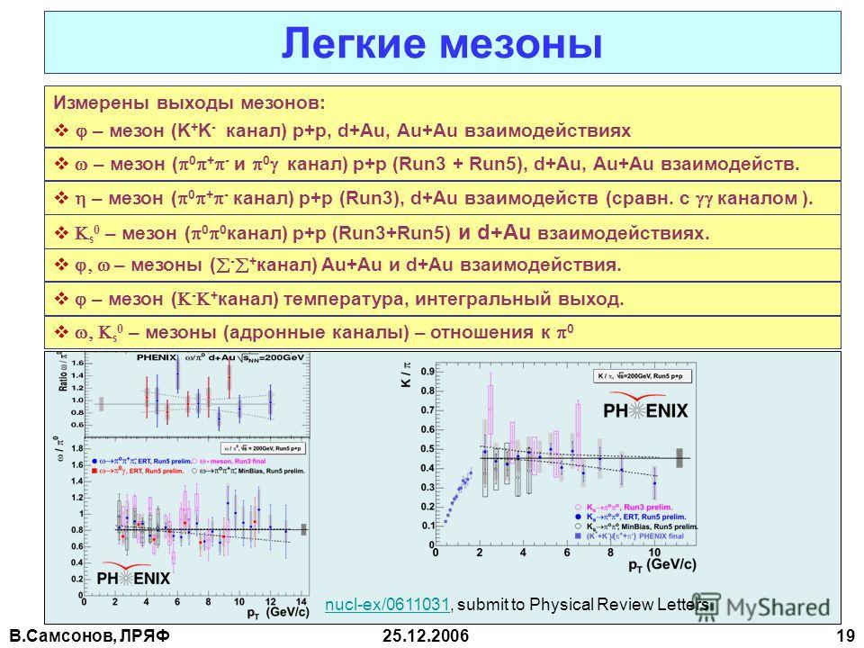 В.Самсонов, ЛРЯФ25.12.2006 19 Измерены выходы мезонов: – мезон (K + K - канал) p+p, d+Au, Au+Au взаимодействиях Легкие мезоны – мезон ( 0 + - и 0 канал) p+p (Run3 + Run5), d+Au, Au+Au взаимодейств. – мезон ( 0 + - канал) p+p (Run3), d+Au взаимодейств