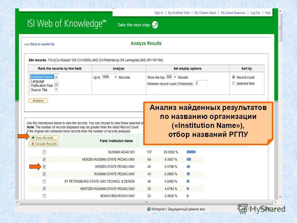 Анализ найденных результатов по названию организации («Institution Name»), отбор названий РГПУ