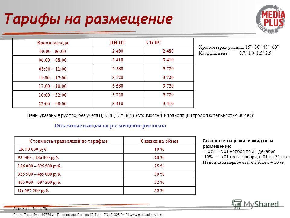 Цены указаны в рублях, без учета НДС (НДС=18%) (стоимость 1-й трансляции продолжительностью 30 сек): Время выходаПН-ПТСБ-ВС 00:00 - 06:002 480 06:00 – 08:00 3 410 08:00 – 11:00 5 5803 720 11:00 – 17:00 3 720 17:00 – 20:00 5 5803 720 20:00 – 22:00 3 7