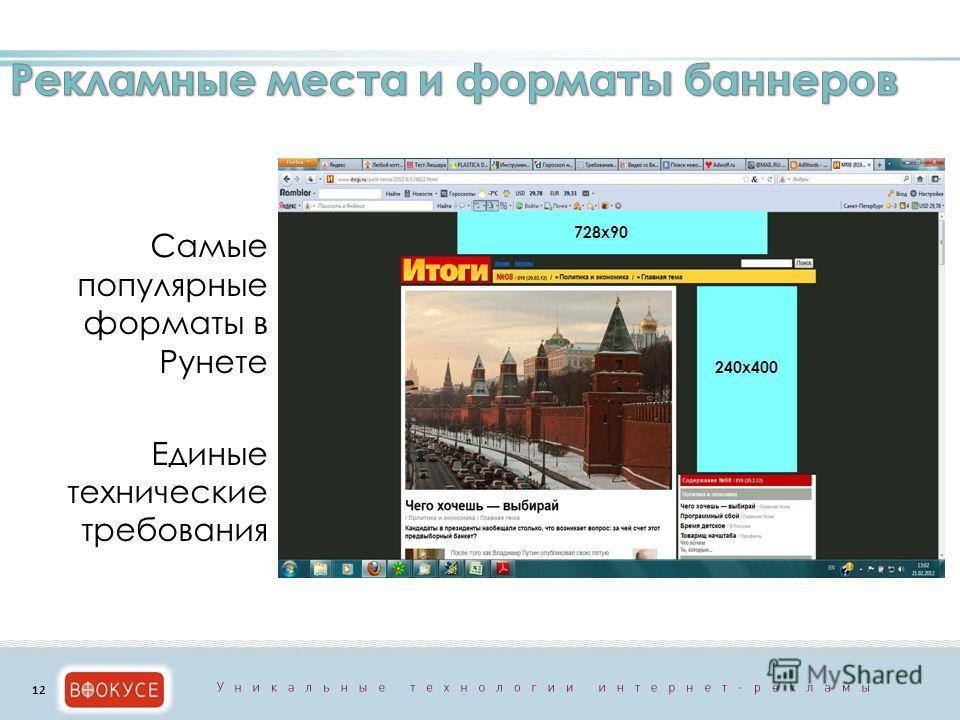 Самые популярные форматы в Рунете Единые технические требования 240х400 728х90 12