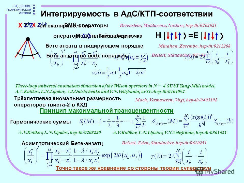 H | ОТДЕЛЕНИЕ ТЕОРЕТИЧЕСКОЙ ФИЗИКИ ПИЯФПИЯФ Интегрируемость в АдС/КТП-соответствии X Z k X Z J-k BMN-операторы X Y Z три скалярных поля =E | Бете анзатц в лидирующем порядке Бете анзатц во всех порядках Three-loop universal anomalous dimension of the