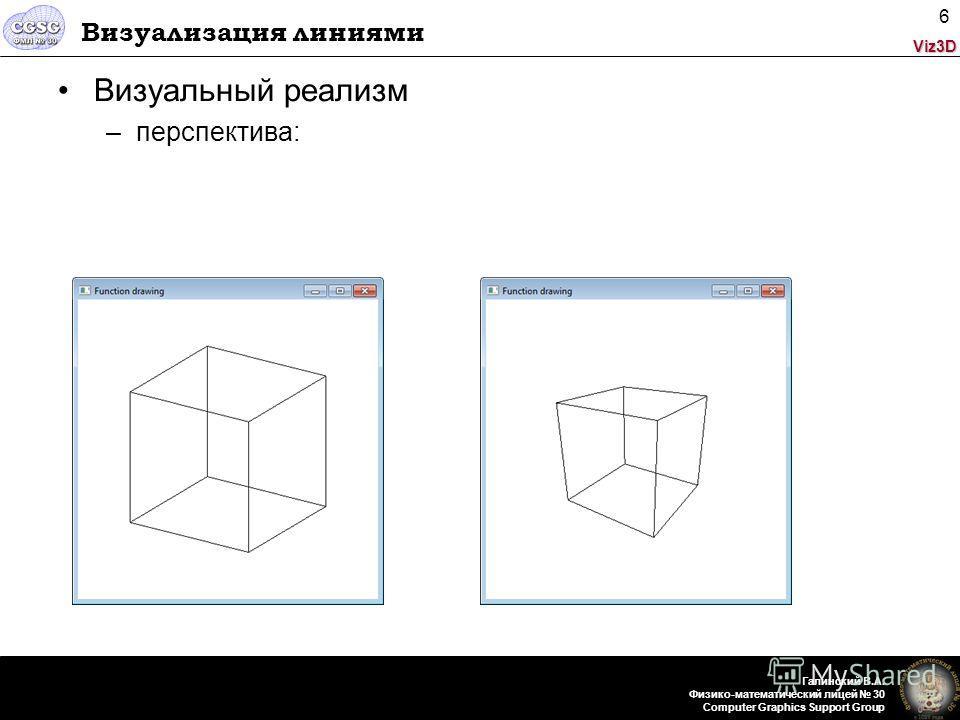 Viz3D Галинский В.А. Физико-математический лицей 30 Computer Graphics Support Group 6 Визуализация линиями Визуальный реализм –перспектива: