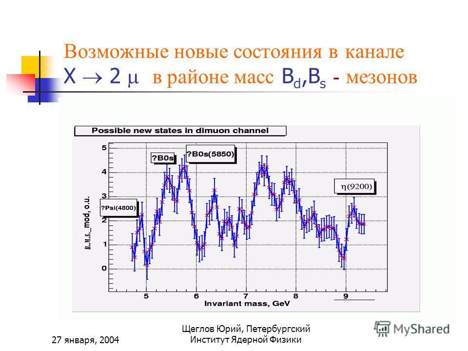 27 января, 2004 Щеглов Юрий, Петербургский Институт Ядерной Физики Возможные новые состояния в канале X 2 в районе масс B d,B s - мезонов