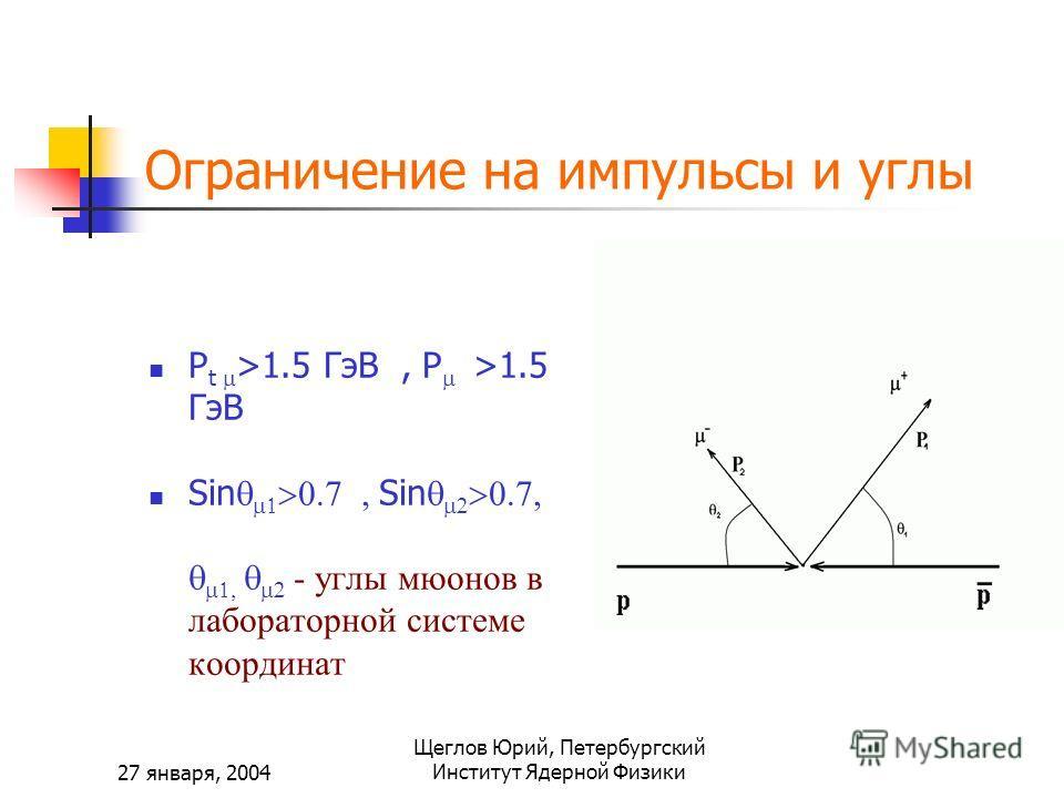 27 января, 2004 Щеглов Юрий, Петербургский Институт Ядерной Физики Ограничение на импульсы и углы P t >1.5 ГэВ, P >1.5 ГэВ Sin Sin re - углы мюонов в лабораторной системе координат