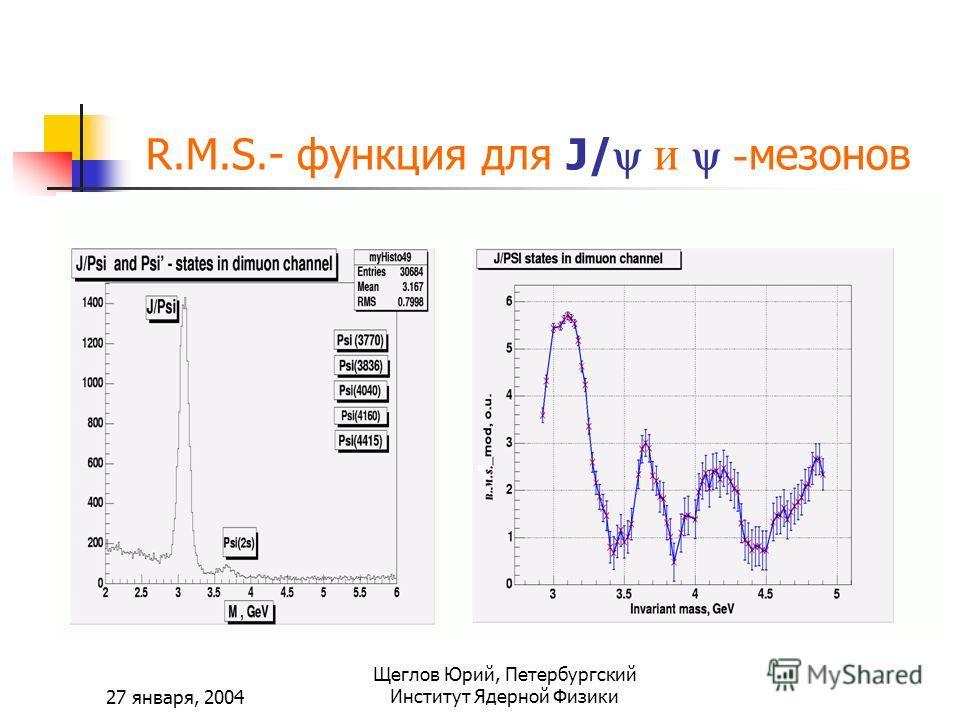 27 января, 2004 Щеглов Юрий, Петербургский Институт Ядерной Физики R.M.S.- функция для J/ и - мезонов
