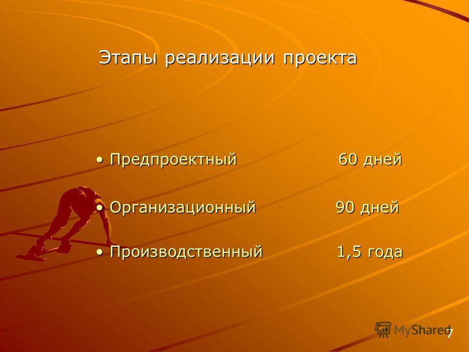 Этапы реализации проекта Организационный 90 дней Организационный 90 дней Производственный 1,5 года Производственный 1,5 года Предпроектный 60 дней Предпроектный 60 дней 7