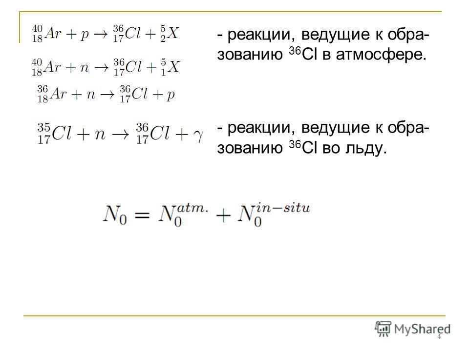 4 - реакции, ведущие к обра- зованию 36 Cl в атмосфере. - реакции, ведущие к обра- зованию 36 Cl во льду.