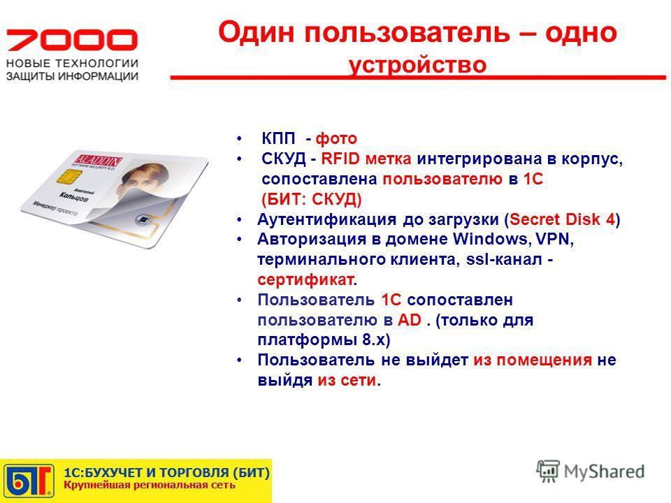 Один пользователь – одно устройство КПП - фото СКУД - RFID метка интегрирована в корпус, сопоставлена пользователю в 1С (БИТ: СКУД) Аутентификация до загрузки (Secret Disk 4) Авторизация в домене Windows, VPN, терминального клиента, ssl-канал - серти