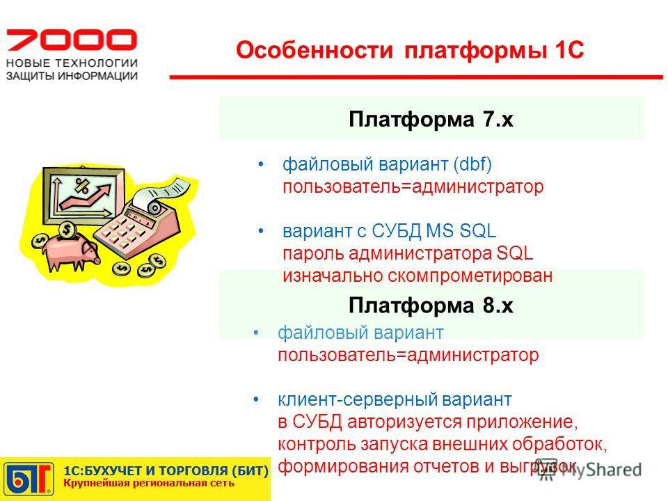 Платформа 7.x Особенности платформы 1С файловый вариант пользователь=администратор клиент-серверный вариант в СУБД авторизуется приложение, контроль запуска внешних обработок, формирования отчетов и выгрузок Платформа 8.x файловый вариант (dbf) польз