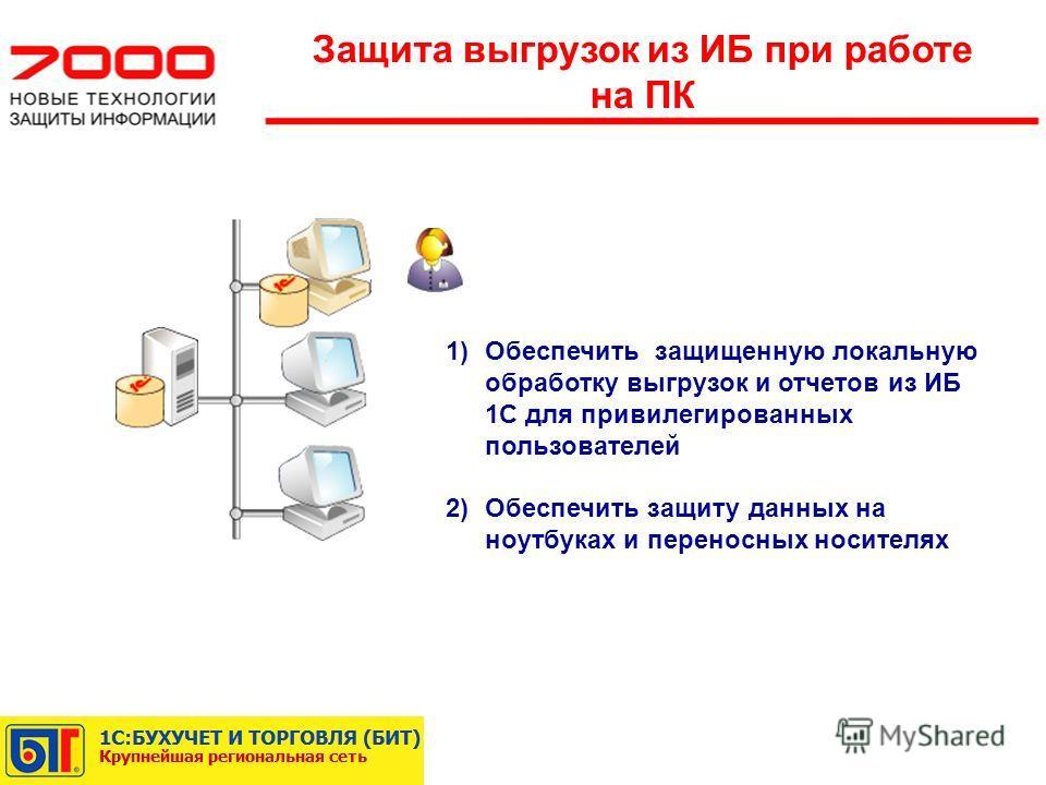 1)Обеспечить защищенную локальную обработку выгрузок и отчетов из ИБ 1С для привилегированных пользователей 2)Обеспечить защиту данных на ноутбуках и переносных носителях Защита выгрузок из ИБ при работе на ПК