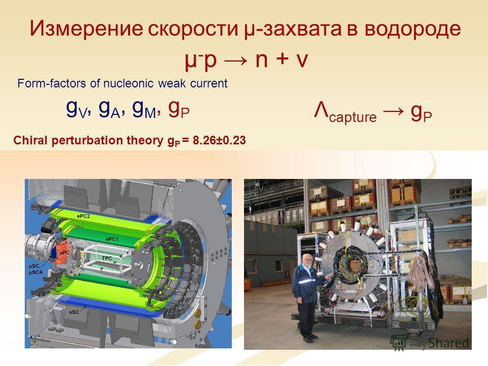 μ - p n + ν Измерение скорости μ-захвата в водороде g V, g A, g M, g P Form-factors of nucleonic weak current Λ capture g P Chiral perturbation theory g P = 8.26±0.23