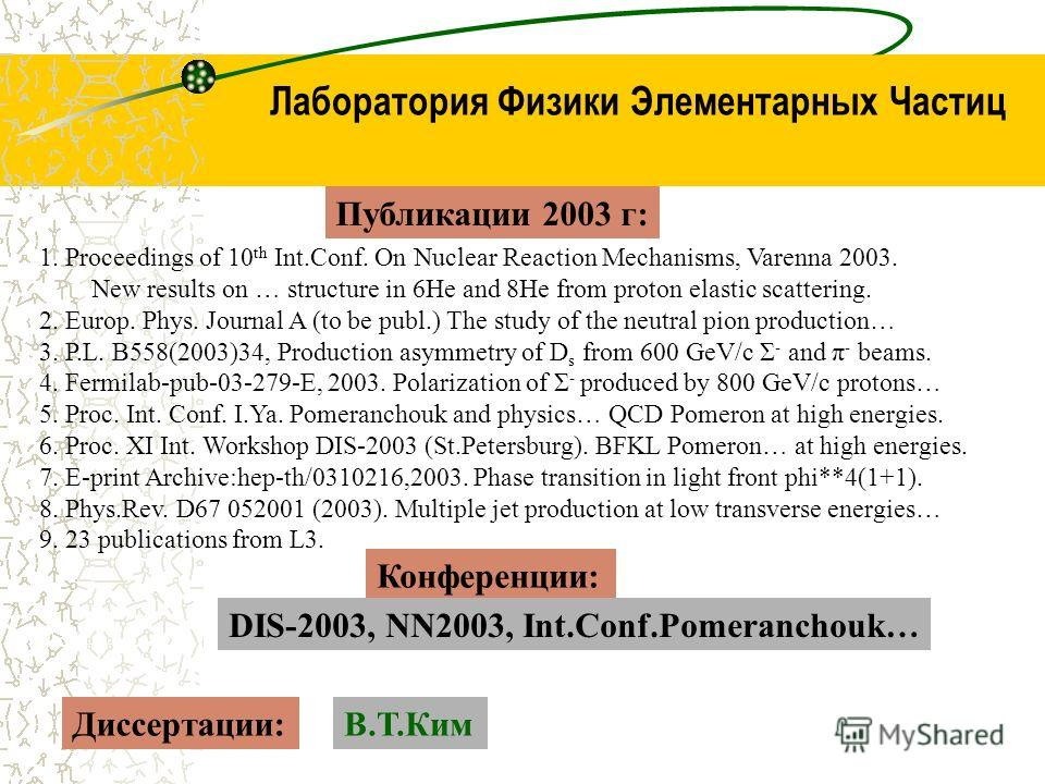 Публикации 2003 г: 1. Proceedings of 10 th Int.Conf. On Nuclear Reaction Mechanisms, Varenna 2003. New results on … structure in 6He and 8He from proton elastic scattering. 2. Europ. Phys. Journal A (to be publ.) The study of the neutral pion product