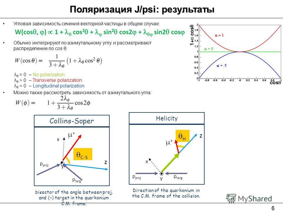 6 Поляризация J/psi: результаты Угловая зависимость сечения векторной частицы в общем случае: = -1 = 0 2 λ θ = 0 – No polarization λ θ > 0 – Transverse polarization λ θ < 0 – Longitudinal polarization Обычно интегрируют по азимутальному углу и рассма