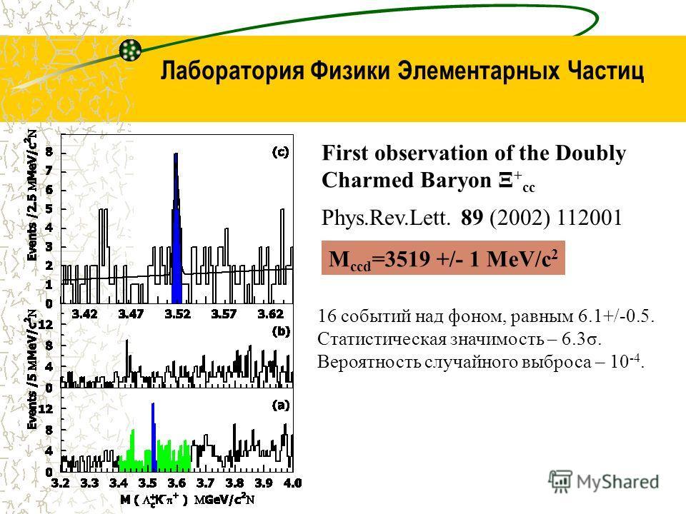 Лаборатория Физики Элементарных Частиц M ccd =3519 +/- 1 МeV/c 2 First observation of the Doubly Charmed Baryon Ξ + cc Phys.Rev.Lett. 89 (2002) 112001 16 событий над фоном, равным 6.1+/-0.5. Статистическая значимость – 6.3σ. Вероятность случайного вы