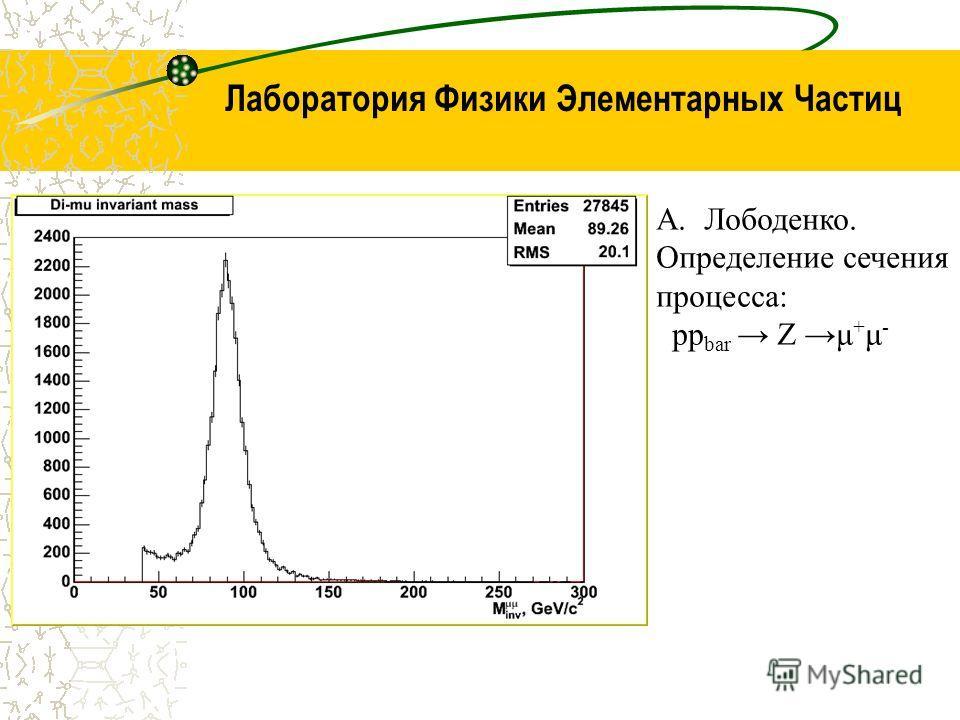 Лаборатория Физики Элементарных Частиц A.Лободенко. Определение сечения процесса: pp bar Z μ + μ -
