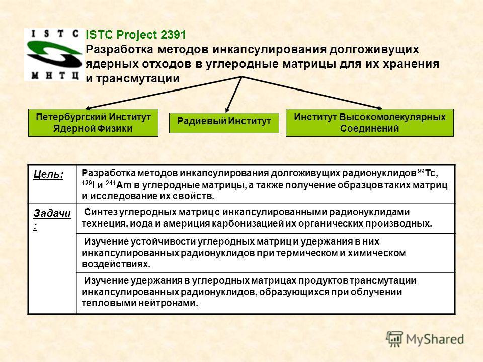 ISTC Project 2391 Разработка методов инкапсулирования долгоживущих ядерных отходов в углеродные матрицы для их хранения и трансмутации Петербургский Институт Ядерной Физики Институт Высокомолекулярных Соединений Радиевый Институт Цель: Разработка мет