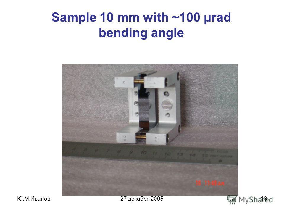Ю.М.Иванов27 декабря 200513 Sample 10 mm with ~100 μrad bending angle
