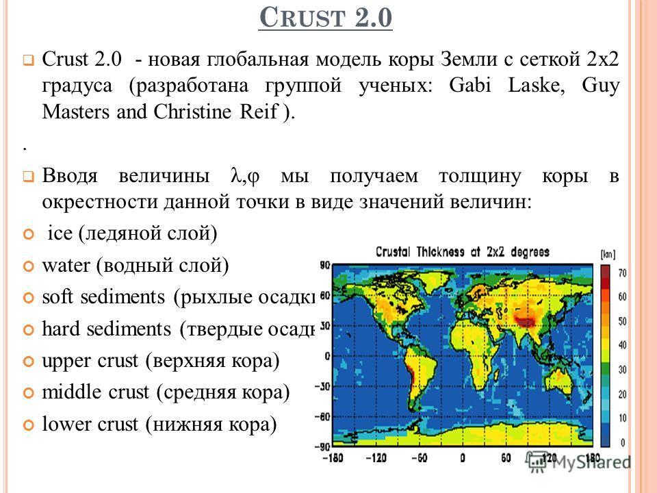 C RUST 2.0 Crust 2.0 - новая глобальная модель коры Земли с сеткой 2х2 градуса (разработана группой ученыx: Gabi Laske, Guy Masters and Christine Reif ).. Вводя величины λ,φ мы получаем толщину коры в окрестности данной точки в виде значений величин: