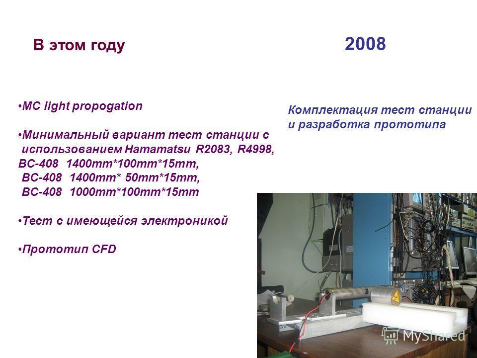 В этом году МС light propogation Mинимальный вариант тест станции c использованием Hamamatsu R2083, R4998, BC-408 1400mm*100mm*15mm, BC-408 1400mm* 50mm*15mm, BC-408 1000mm*100mm*15mm Тест с имеющейся электроникой Прототип CFD 2008 Комплектация тест