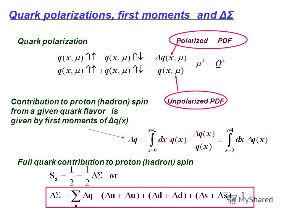Quark polarizations, first moments and ΔΣ Quark polarization Contribution to proton (hadron) spin from a given quark flavor is given by first moments of Δq(x) Polarized PDF Unpolarized PDF Full quark contribution to proton (hadron) spin