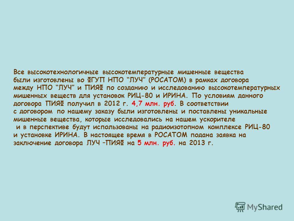 Все высокотехнологичные высокотемпературные мишенные вещества были изготовлены во ФГУП НПО ЛУЧ (РОСАТОМ) в рамках договора между НПО ЛУЧ и ПИЯФ по созданию и исследованию высокотемпературных мишенных веществ для установок РИЦ-80 и ИРИНА. По условиям