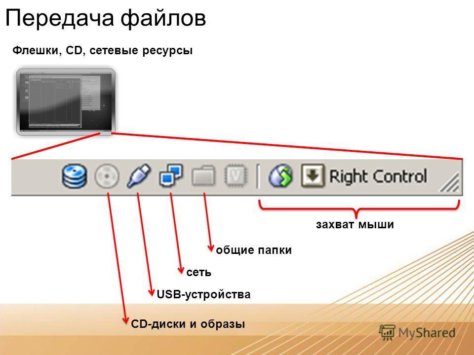 Передача файлов Флешки, CD, сетевые ресурсы захват мыши общие папки сеть USB-устройства CD-диски и образы