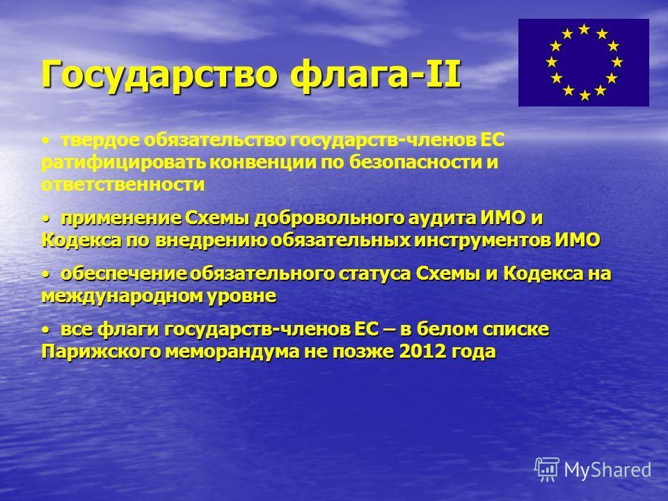 Государство флага-I отсутствующе звено в законодательстве ЕС контроль со стороны государств-членов ЕС должного соответствия судов под их флагом стандартам ИМО контроль со стороны государств-членов ЕС должного соответствия судов под их флагом стандарт