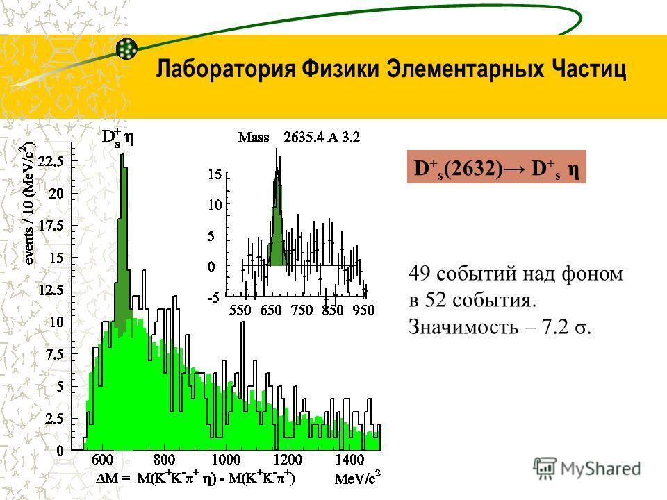 Лаборатория Физики Элементарных Частиц 49 событий над фоном в 52 события. Значимость – 7.2 σ. D + s (2632) D + s η