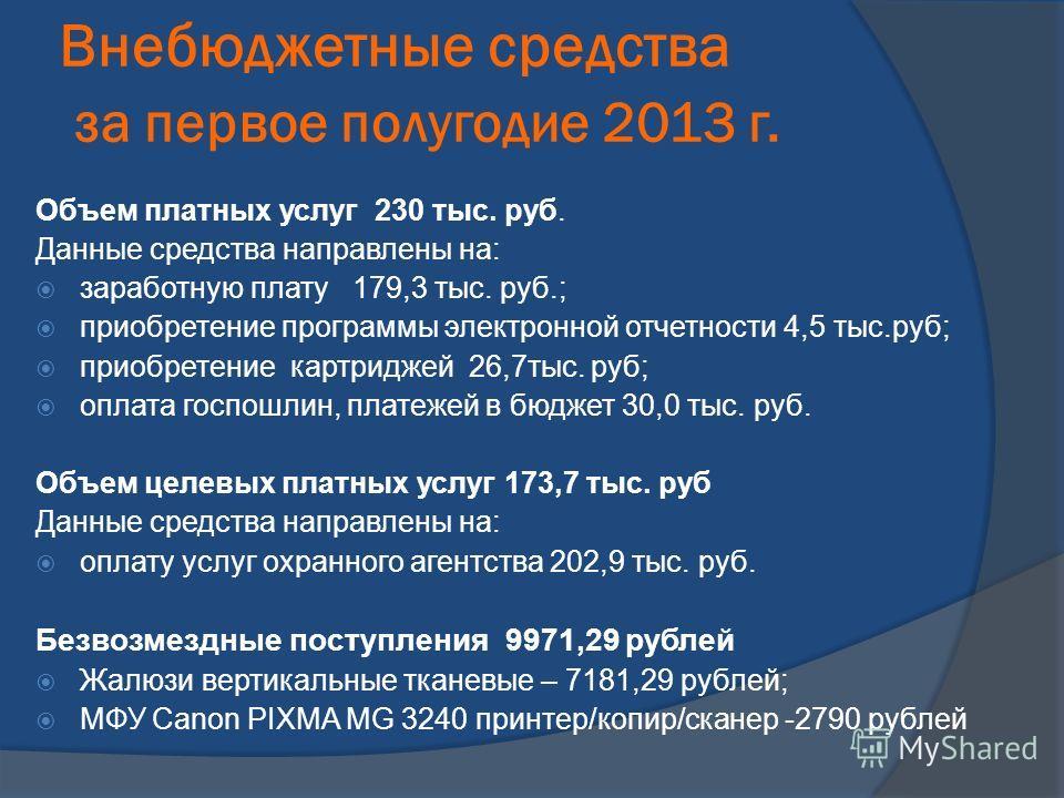 Внебюджетные средства за первое полугодие 2013 г. Объем платных услуг 230 тыс. руб. Данные средства направлены на: заработную плату 179,3 тыс. руб.; приобретение программы электронной отчетности 4,5 тыс.руб; приобретение картриджей 26,7тыс. руб; опла