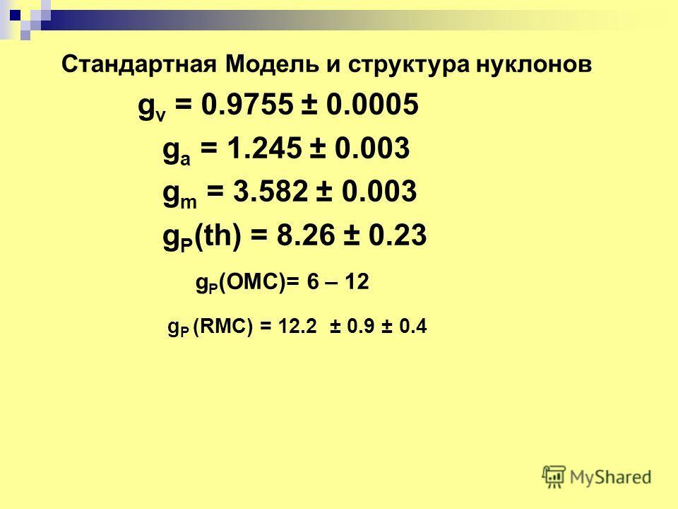 Стандартная Модель и структура нуклонов g v = 0.9755 ± 0.0005 g a = 1.245 ± 0.003 g m = 3.582 ± 0.003 g P (th) = 8.26 ± 0.23 g P (OMC)= 6 – 12 g P (RMC) = 12.2 ± 0.9 ± 0.4