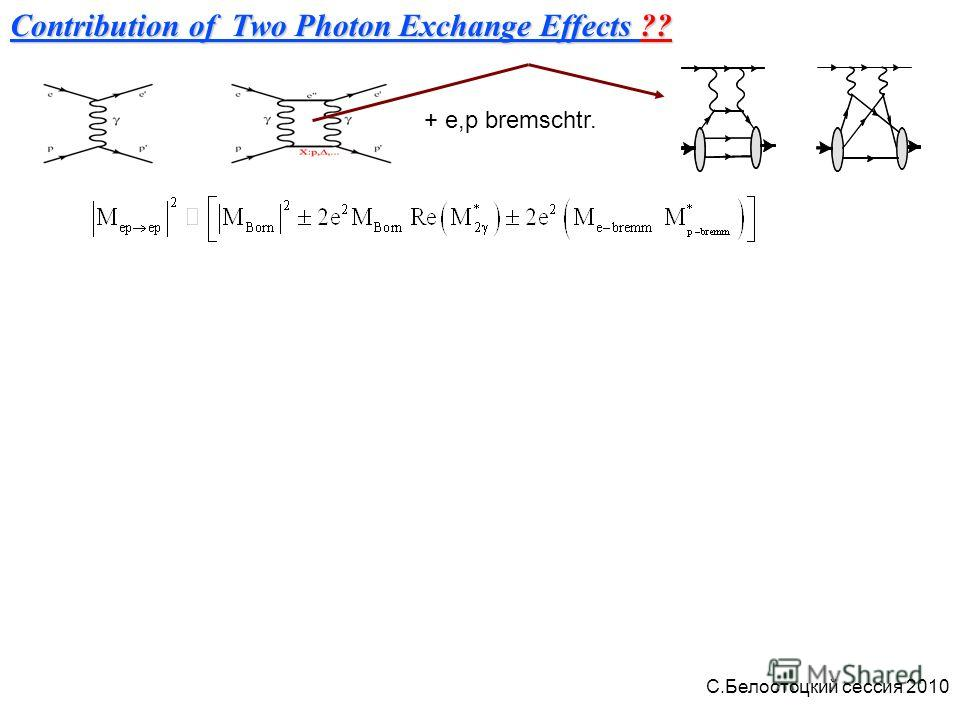Contribution of Two Photon Exchange Effects ?? + e,p bremschtr. С.Белостоцкий сессия 2010