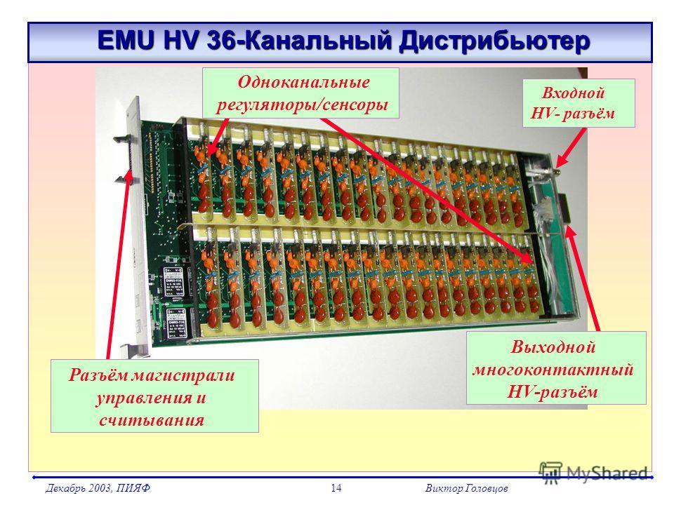 Декабрь 2003, ПИЯФВиктор Головцов14 EMU HV 36-Канальный Дистрибьютер EMU HV 36-Канальный Дистрибьютер Входной HV- разъём Выходной многоконтактный HV-разъём Разъём магистрали управления и считывания Одноканальные регуляторы/сенсоры