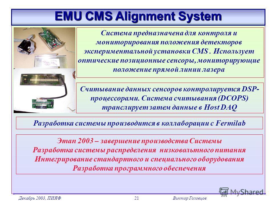 Декабрь 2003, ПИЯФВиктор Головцов21 EMU CMS Alignment System Система предназначена для контроля и мониторирования положения детекторов экспериментальной установки CMS. Использует оптические позиционные сенсоры, мониторирующие положение прямой линии л