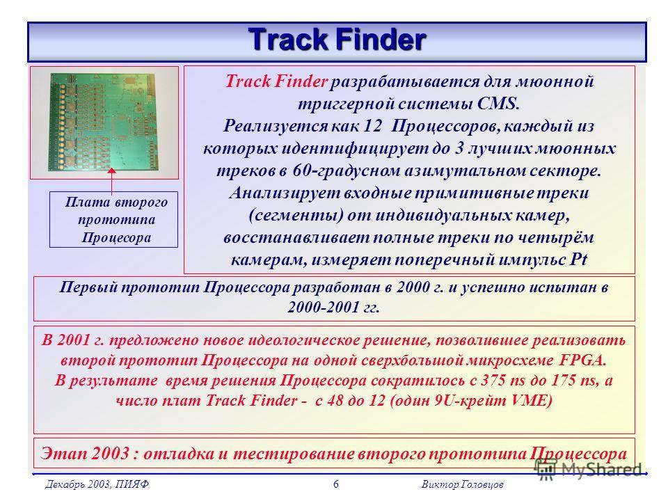Декабрь 2003, ПИЯФВиктор Головцов6 Track Finder Track Finder разрабатывается для мюонной триггерной системы CMS. Реализуется как 12 Процессоров, каждый из которых идентифицирует до 3 лучших мюонных треков в 60-градусном азимутальном секторе. Анализир