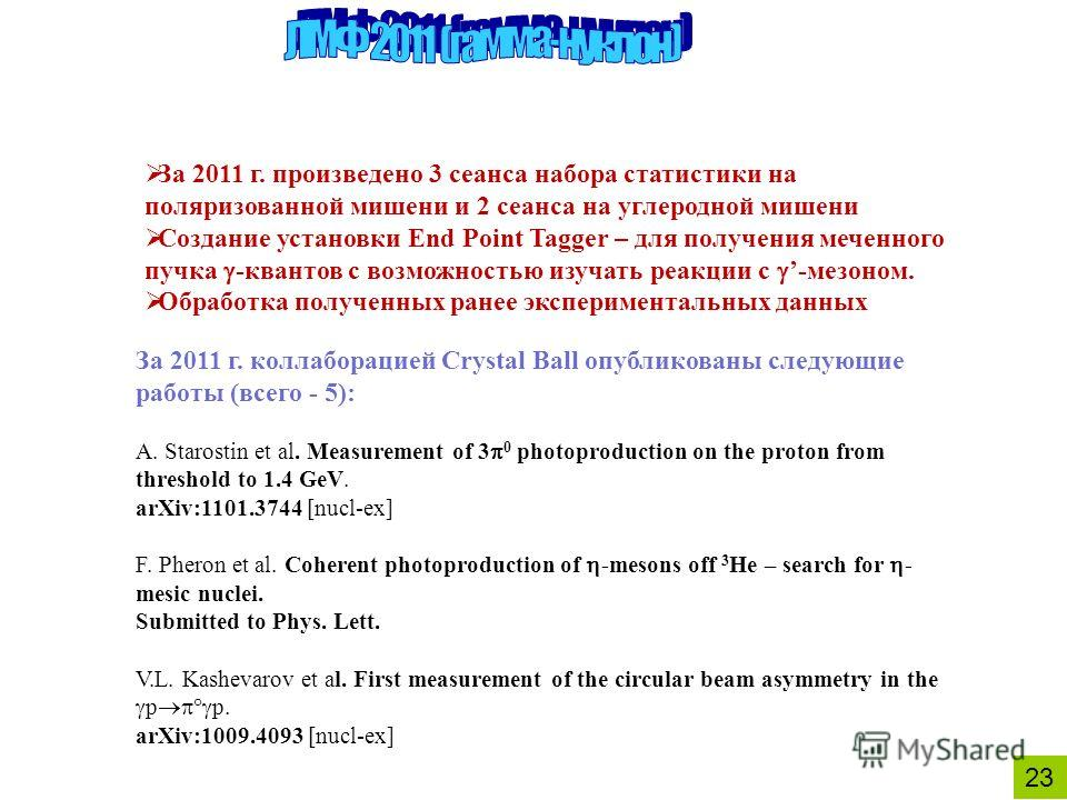 2323 За 2011 г. коллаборацией Crystal Ball опубликованы следующие работы (всего - 5): A. Starostin et al. Measurement of 3 0 photoproduction on the proton from threshold to 1.4 GeV. arXiv:1101.3744 [nucl-ex] F. Pheron et al. Coherent photoproduction