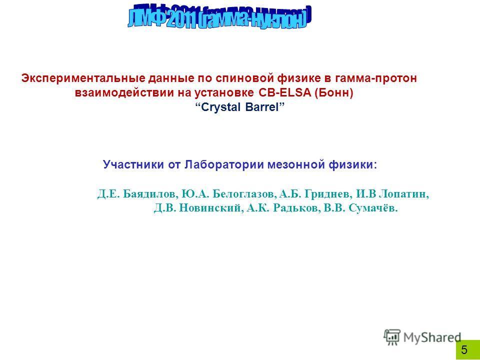 5 Экспериментальные данные по спиновой физике в гамма-протон взаимодействии на установке CB-ELSA (Бонн) Crystal Barrel Участники от Лаборатории мезонной физики: Д.Е. Баядилов, Ю.А. Белоглазов, А.Б. Гриднев, И.В Лопатин, Д.В. Новинский, А.К. Радьков,