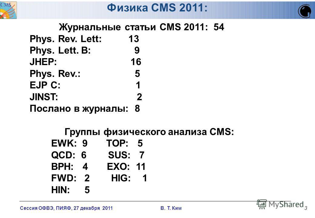 Сессия ОФВЭ, ПИЯФ, 27 декабря 2011 В. T. Ким3 Журнальные статьи CMS 2011: 54 Phys. Rev. Lett: 13 Phys. Lett. B: 9 JHEP: 16 Phys. Rev.: 5 EJP C: 1 JINST: 2 Послано в журналы: 8 Группы физического анализа CMS: EWK: 9 TOP: 5 QCD: 6 SUS: 7 BPH: 4 EXO: 11
