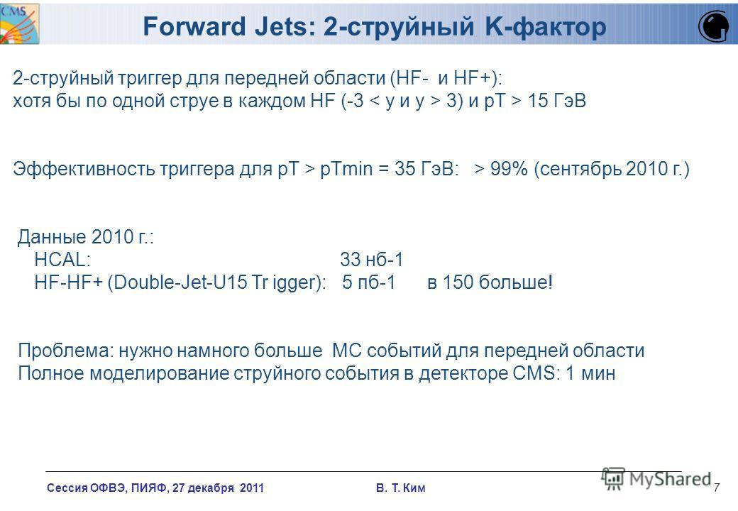 Сессия ОФВЭ, ПИЯФ, 27 декабря 2011 В. T. Ким7 Forward Jets: 2-струйный K-фактор 2-струйный триггер для передней области (HF- и HF+): хотя бы по одной струе в каждом HF (-3 3) и pT > 15 ГэВ Эффективность триггера для pT > pTmin = 35 ГэВ: > 99% (сентяб