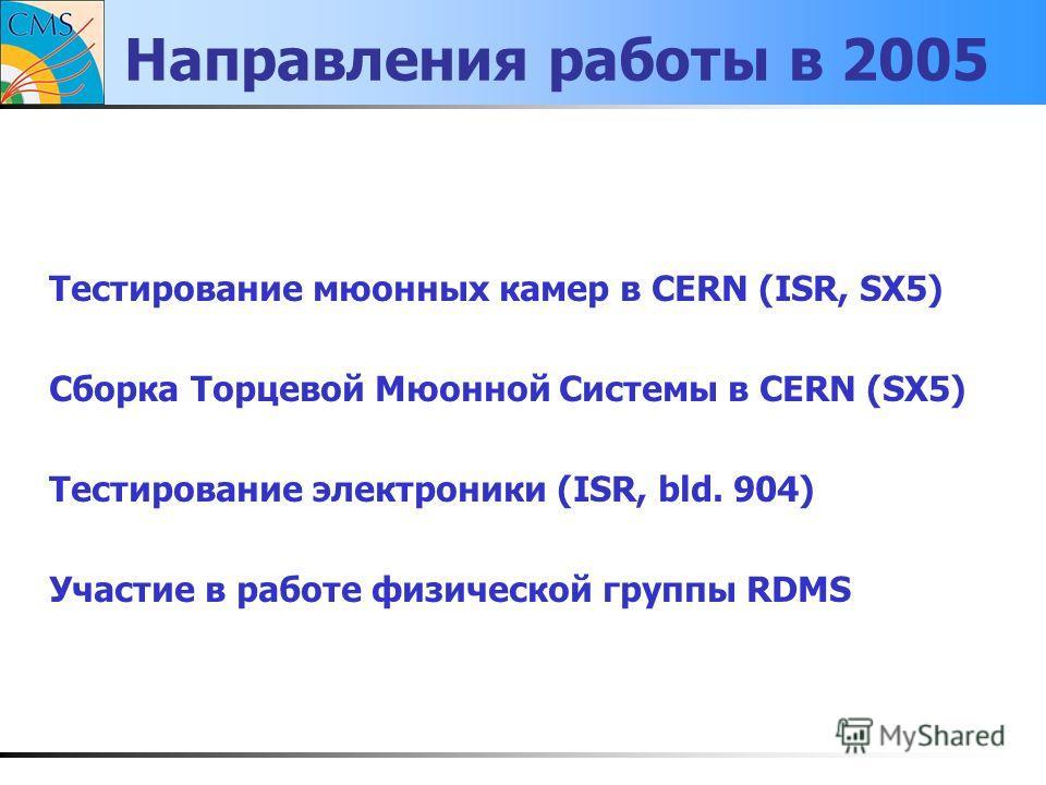 Направления работы в 2005 Тестирование мюонных камер в CERN (ISR, SX5) Cборка Торцевой Мюонной Системы в CERN (SX5) Тестирование электроники (ISR, bld. 904) Участие в работе физической группы RDMS