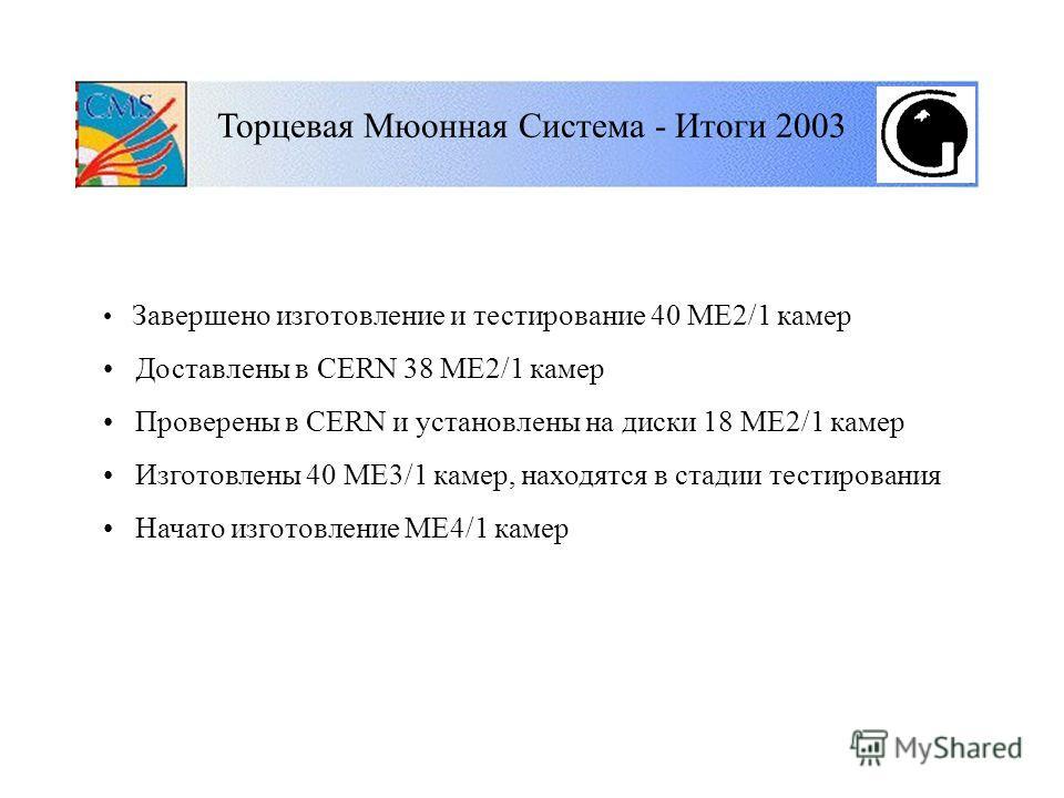 Торцевая Мюонная Система - Итоги 2003 Завершено изготовление и тестирование 40 ME2/1 камер Доставлены в CERN 38 ME2/1 камер Проверены в CERN и установлены на диски 18 ME2/1 камер Изготовлены 40 ME3/1 камер, находятся в стадии тестирования Начато изго