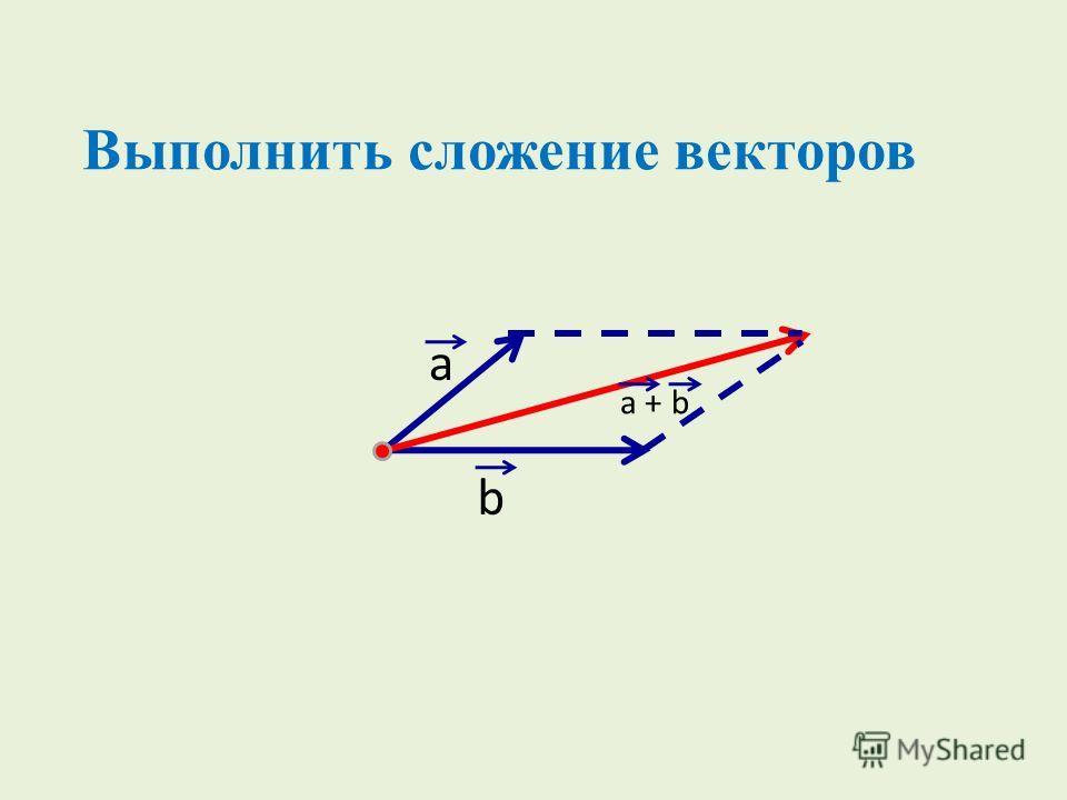 a b a + b Выполнить сложение векторов