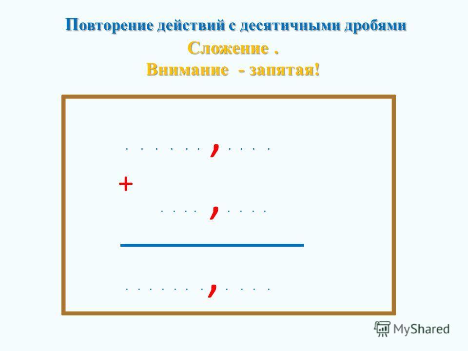 П овторение действий с десятичными дробями Сложение. Внимание - запятая! П овторение действий с десятичными дробями Сложение. Внимание - запятая!......,........,...........,.... +