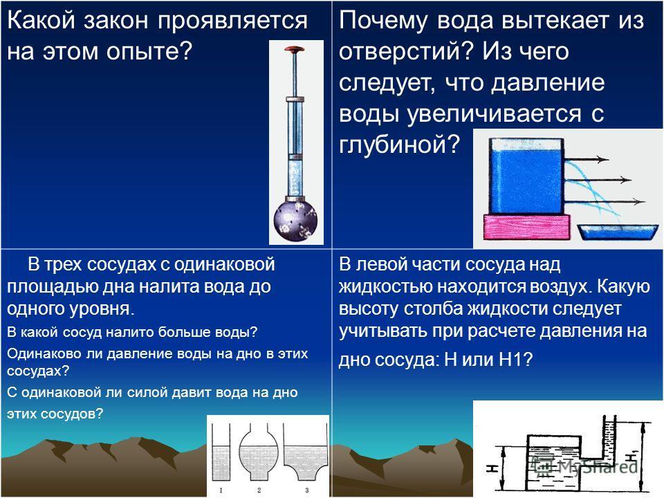 Какой закон проявляется на этом опыте? Почему вода вытекает из отверстий? Из чего следует, что давление воды увеличивается с глубиной? В трех сосудах с одинаковой площадью дна налита вода до одного уровня. В какой сосуд налито больше воды? Одинаково